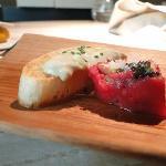 Tuna stuffed with caviar and served with a toast