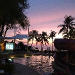 Pool area during sunset