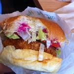 fish burger with beet topping