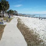 looking from opposite end of beach toward cedar key yach club