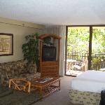 Spacious clean room, with a wonderful courtyard/ocean/pool view