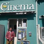 Entrance to the cinema, with proprietor