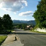 View towards Bryson City from hotel driveway
