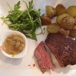 Chateaubriand, cooked medium rare,little new roasted potatoes, onion chutney and rocket