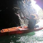 Kayaking through sea caves