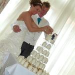 ccutting of the cake in the walshford suite