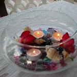 Centerpiece on table for dinner on the beach