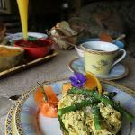 Breakfast: layered egg dish with mimosa