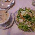 Clam Chowder with Caesar Salad
