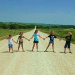 The kids on an Amish Backroad!
