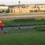 Kids playing on the hill and path after dinner!