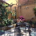Relaxing in the garden of our hotel. Villa Delle Rose