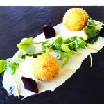Mushroom risotto balls with pancetta infused aubergine