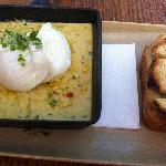 creamed corn, poached eggs, brioche fingers, heaven in a hot plate