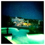 swimming pool and white town