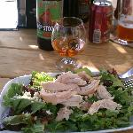 Cranberry and blue cheese salad with pulled chicken