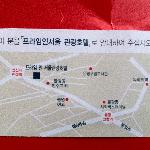Back of hotel calling card with map to hotel