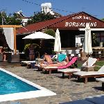 the excellent pool & bar area
