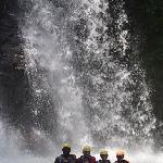 Amazing swim in waterfall mid rafting