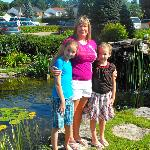 The girls and I by the small pond in front of the hotel.