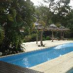 Estar y piscina al aire libre
