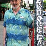 Bob at the Fillmore pole. Great stories about Bill Graham told here.