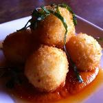 Goat cheese croquettes with romesco sauce