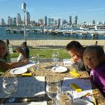 My kids enjoying Candelas on the Bay with a beautiful view from our table....