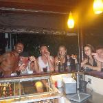 Us with some Aussies we found at Stakz enjoying our complimentary shot thingys.