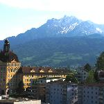 Insurance building and Mt Pilatus from watch tower
