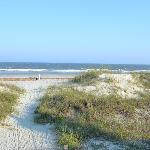 walking onto the beach
