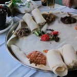 Injera with meat and veg