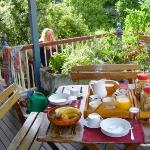 The beautiful back verandar breakfast setting