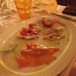 carpaccio di gamberoni e salmone