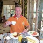 ENJOYING BREAKFAST IN L'ORANGERIE IN RENOVATED WELLNESS & SPA HOTEL ERMITAGE.