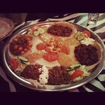 Shared plate of 5 Ethiopian curries