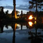 Fire lit pond