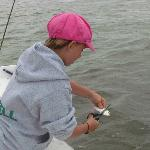 Cutting up the bait fish