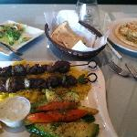 Hummus, Greek Salad, & Lamb Kabob
