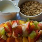 Granola, yogurt, fruit salad