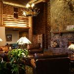Lobby with 30 foot ceilings and stunning fireplace