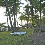 Hammocks strung along the beach front area