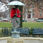 Umbrella Girl statue--another must see attraction in Schiller Park