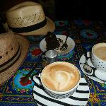 Lattes and chocolate cake with espresso