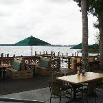 outside dining patio on lake