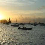 The harbor as sun sets, about 3 min. walk from our apt.