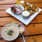 fried oysters and salmon chowder