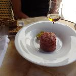 Beef tartar and robin's eggs with brandy.