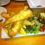 Goujons of Cod, Chips and Salad