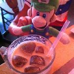 delicious iced latte. notice the heart-shaped icecubes (made of coffee!)